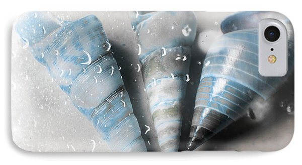Three Little Trumpet Snail Shells Over Gray IPhone Case by Jorgo Photography - Wall Art Gallery