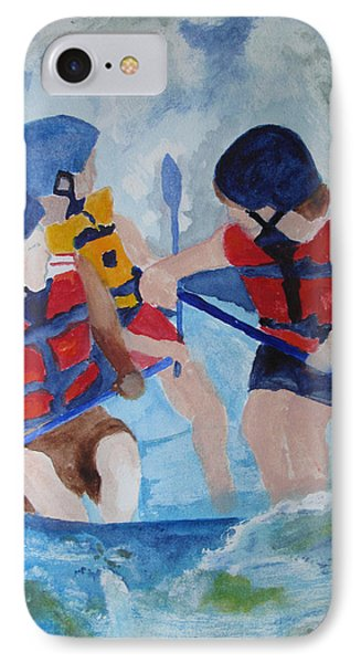 IPhone Case featuring the painting Three Men In A Tube by Sandy McIntire