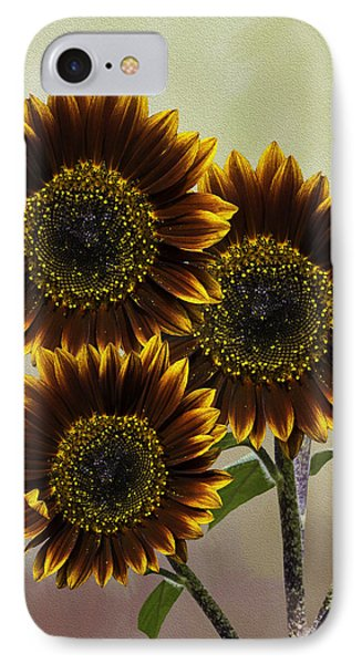 IPhone Case featuring the photograph Three Painted Sunflowers Plus Two Buds by Diane Schuster