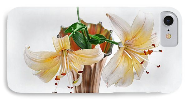 Three Pale Gold Lilies Still Life IPhone Case by Louise Kumpf