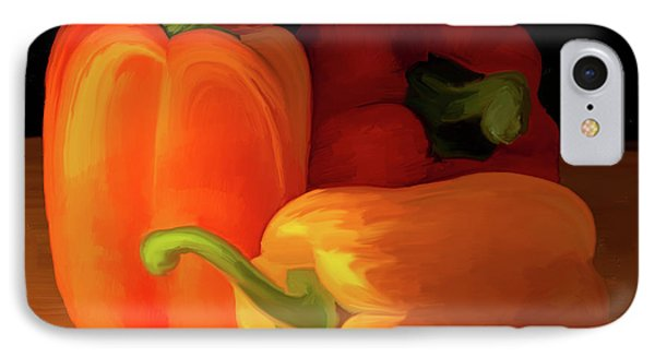 Three Peppers 01 IPhone Case by Wally Hampton