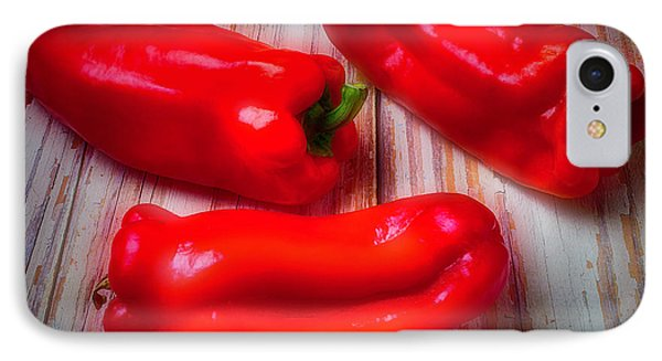 Three Red Bell Peppers IPhone Case by Garry Gay