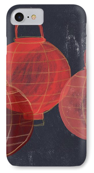 Three Red Lanterns- Art By Linda Woods IPhone Case by Linda Woods