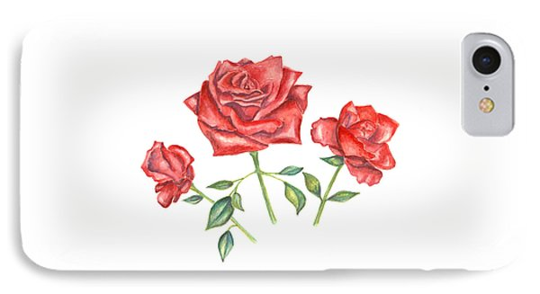 IPhone Case featuring the mixed media Three Red Roses by Elizabeth Lock