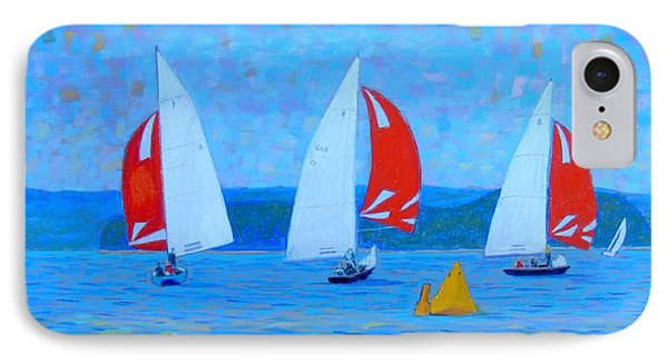 Three Red Sails  IPhone Case by Rae  Smith