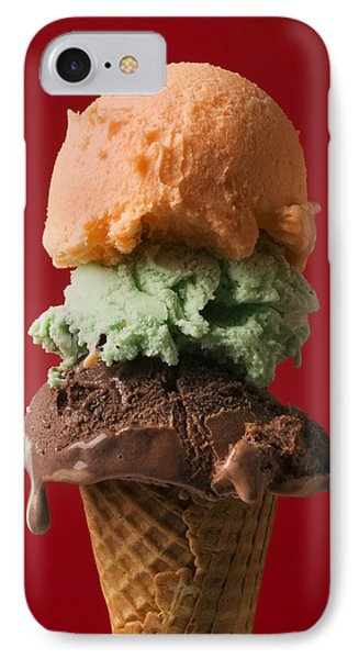 Three Scoop Ice Cream On Red Background IPhone Case by Garry Gay