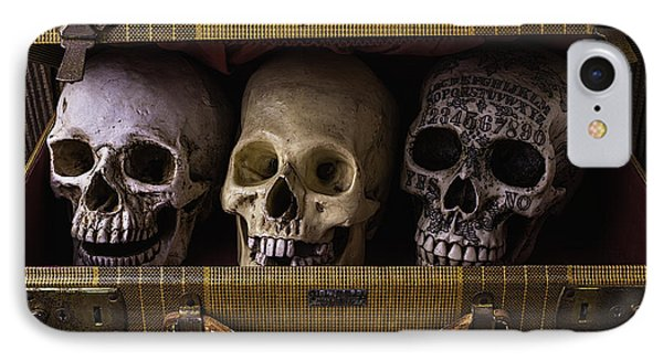 Three Skulls In Suitcase IPhone Case by Garry Gay