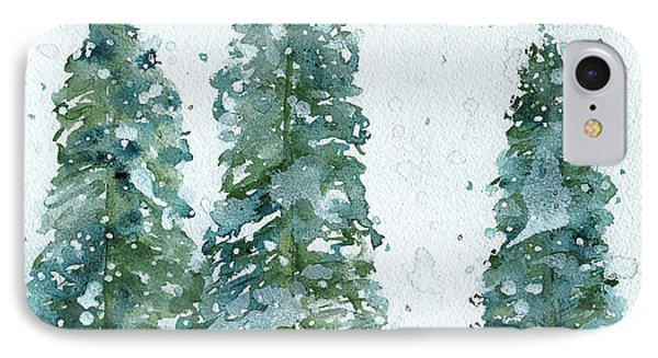 IPhone Case featuring the painting Three Snowy Spruce Trees by Dawn Derman