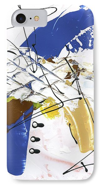 IPhone Case featuring the painting Three Color Palette Blue 3 by Michal Mitak Mahgerefteh
