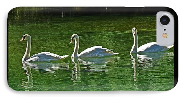 Three Swans Aswimming IPhone Case by Judy Wanamaker