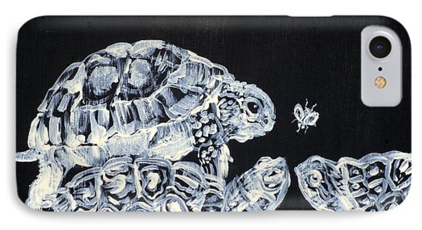 IPhone Case featuring the painting Three  Terrapins And One Fly by Fabrizio Cassetta