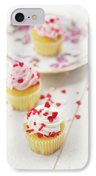 IPhone Case featuring the photograph Three Tiny Cupcakes by Rebecca Cozart