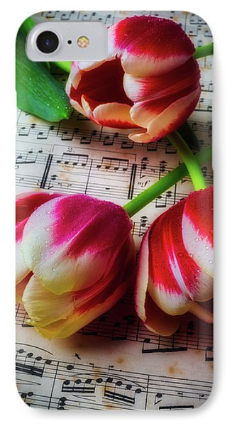 Three Tulips On Sheet Music IPhone Case by Garry Gay