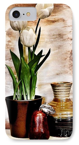 Three Tulips Pottery And Pear IPhone Case by Marsha Heiken
