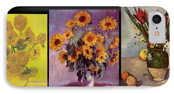 Three Vases Van Gogh - Cezanne IPhone Case by David Bridburg