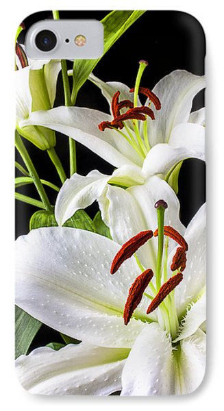 Three White Lilies IPhone 7 Case by Garry Gay