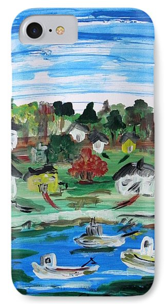 IPhone Case featuring the painting Three Work Boats Return by Mary Carol Williams