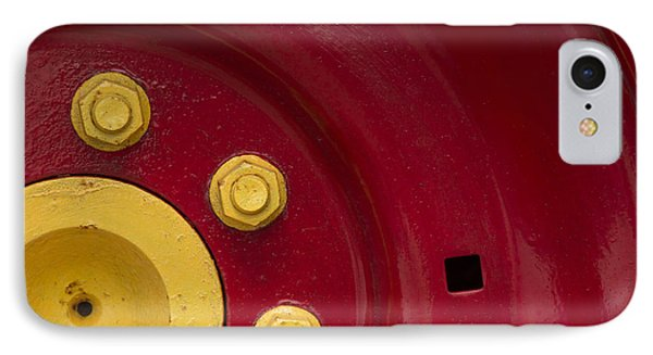 Three Yellow Nuts On A Red Wheel IPhone Case by Wendy Wilton
