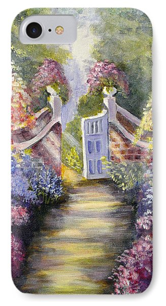 IPhone Case featuring the painting Through The Garden Gate by Quwatha Valentine