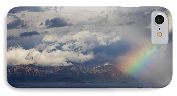IPhone Case featuring the photograph Thunder Mountain Rainbow From Jerome by Ron Chilston