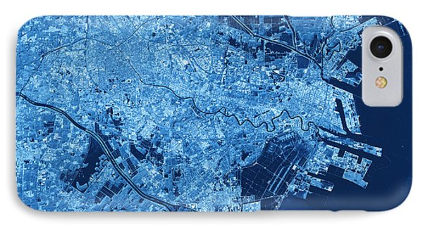 Tianjin Topographic Map Blue Color Top View IPhone Case by Frank Ramspott