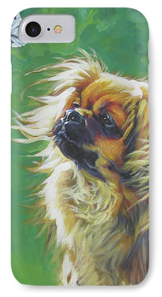 Tibetan Spaniel And Cabbage White Butterfly Phone Case by Lee Ann Shepard