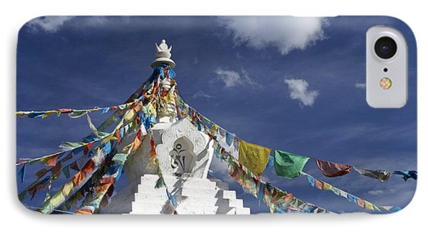 Tibetan Stupa With Prayer Flags Phone Case by Michele Burgess