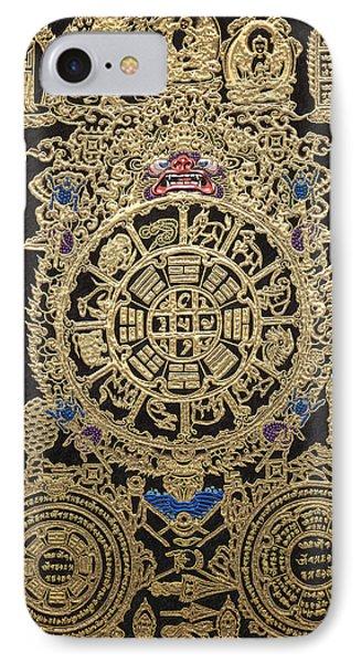 Tibetan Thangka - Tibetan Astrological Diagram IPhone Case by Serge Averbukh