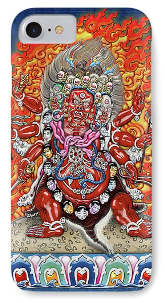 Tibetan Thangka  - Wrathful Deity Hayagriva IPhone Case by Serge Averbukh