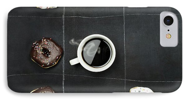 IPhone Case featuring the photograph Tic Tac Toe Donuts And Coffee by Stephanie Frey