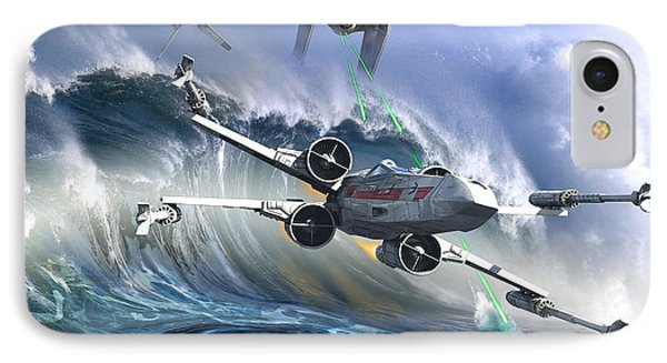 Battle Over Kamino - The Tie Dal Wave IPhone Case by Kurt Miller