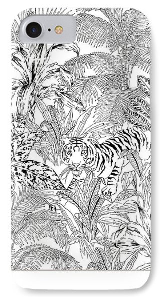 Tiger Black And White IPhone Case by Jacqueline Colley