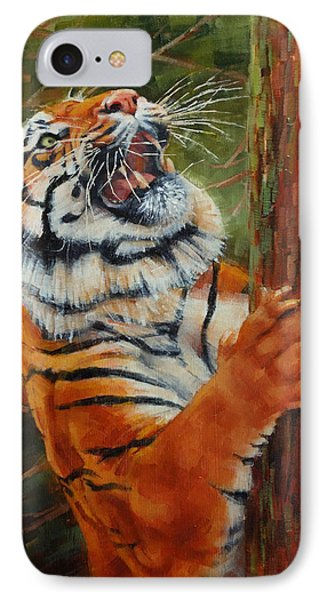 Tiger Chasing Prey IPhone Case by Margaret Stockdale
