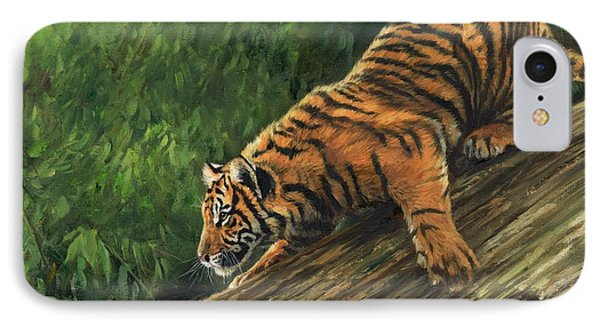 Tiger Descending Tree IPhone Case by David Stribbling
