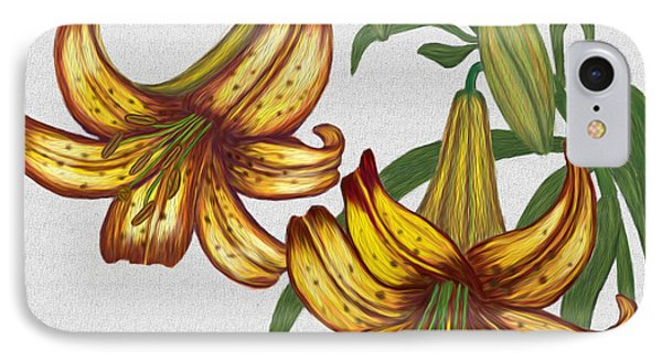 Tiger Lily Blossom  IPhone Case by Walter Colvin