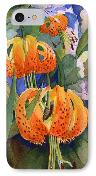 IPhone Case featuring the painting Tiger Lily Parachutes by Nancy Watson