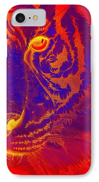 Tiger On Fire IPhone Case by Mayhem Mediums