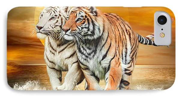 IPhone Case featuring the mixed media Tiger Run by Carol Cavalaris