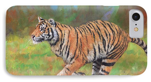 IPhone Case featuring the painting Tiger Running by David Stribbling