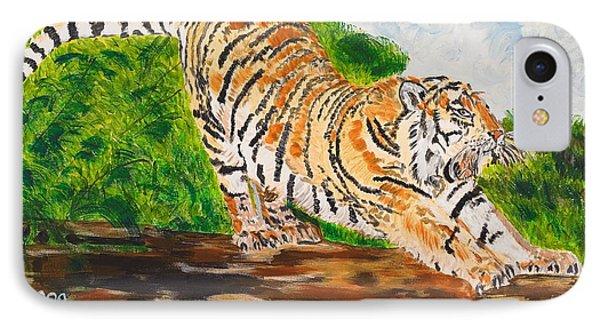 Tiger Stretching IPhone Case by Valerie Ornstein