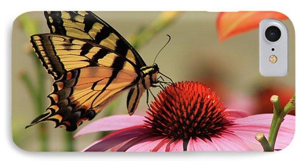 Tiger Swallowtail Butterfly Coneflower Phone Case by John Burk