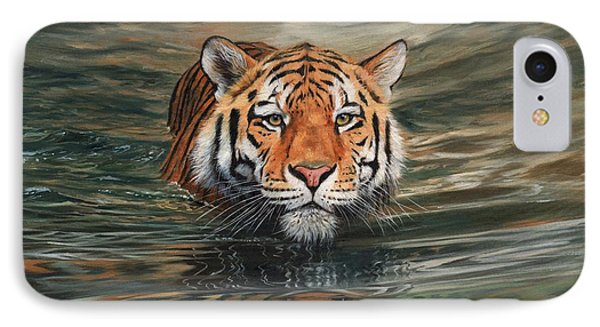 Tiger Swimming IPhone Case by David Stribbling