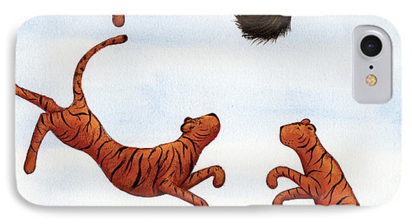 Tigers On A Trampoline Phone Case by Christy Beckwith