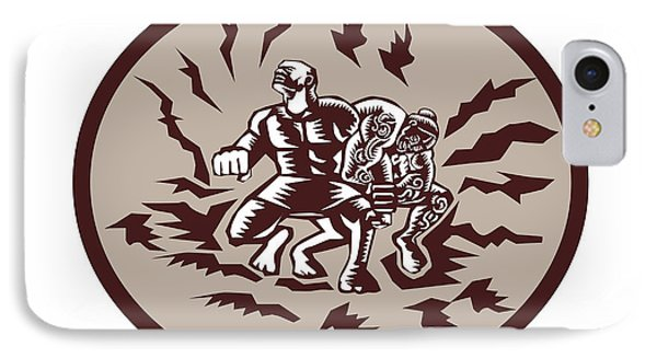 Tiitii Wrestling God Of Earthquake Circle Woodcut IPhone Case by Aloysius Patrimonio