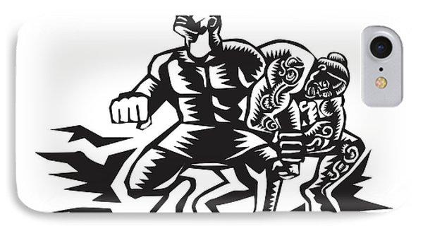 Tiitii Wrestling God Of Earthquake Woodcut IPhone Case by Aloysius Patrimonio