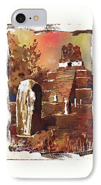IPhone Case featuring the painting Tikal Mayan Ruins- Guatemala by Ryan Fox