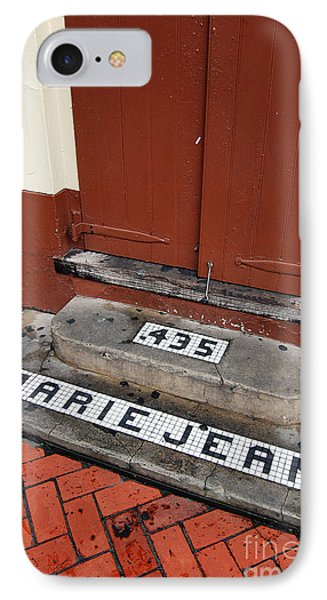 Tile Inlay Steps Marie Jean 435 Wooden Door French Quarter New Orleans IPhone Case by Shawn O'Brien