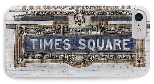 Tile Mosaic Sign, Times Square Subway New York, Handmade Sketch IPhone Case by Pablo Franchi