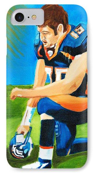 Tim Tebow Denver Broncos Nfl Portrait IPhone Case by Derek Clendening