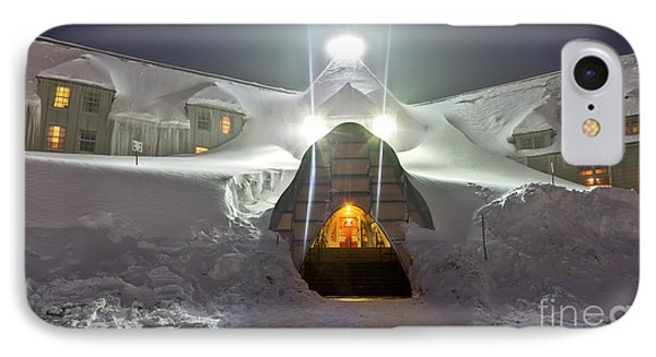 Timberline Lodge Entry Mt Hood Snowdrifts IPhone Case by Dustin K Ryan